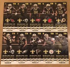 2018 NFL NEW ORLEANS SAINTS FOOTBALL FULL UNUSED TICKET SHEET -ALL 10 HOME GAMES