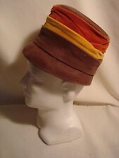 Vintage.Beige, Yellow, & Orange.Velour.Hat.U.S.A.