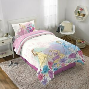 Princesses: Rapunzel, Cinderella, Belle Full Comforter, Sheets, Bonus SHAM- 6 Pc