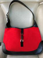 Gucci Jackie Felt Hobo Bag Shoulder Red Wool Black Leather Purse 001-3346 Piston