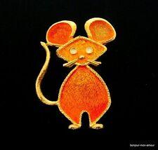 1960's Designer Lind Gal, New York Emaillierte Maus Brosche, Mouse Brooch,Broche