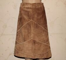 Beige Suede INTOWN Zip A-Line Stitch Knee Length Women Skirt Size L ,L 24 Grunge