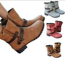 Women Motor Biker Casual Chunky Low Heel Round Toe Outdoor Ankle Boots 35/43 D