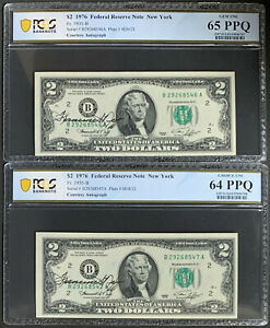 NQC Consecutive Pair and Courtesy Autographed Fr. 1935-B 1976 $2 FRN (2 Notes)