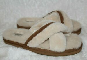 NEW Authentic UGG Womens Abela Soft Fluffy Slide Slippers Shoes Natural