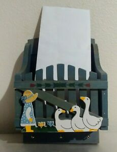 Vintage Key hook/ Wood Wall Holder Letter Organizer/Kitchen Farm/Ducks
