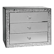 Large 3 Drawer Mirrored Glass Jewellery Box Trinket Treasure Organiser Chest