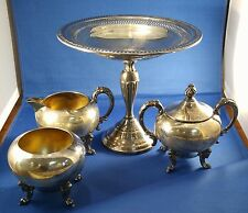 Antique Sheridan Silver On Copper Plate Tea Set Kettle Sugar Creamer 5pc NICE