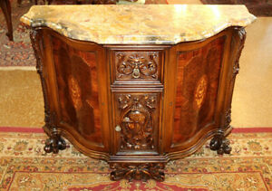 Amazing French Marble Top Inlaid Commode Buffet Server Circa 1915