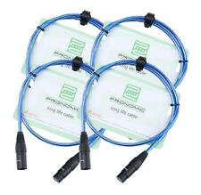 4x Set Profi DJ PA Mikrofon Kabel 1m Patch Cable XLR Male Female metallic blau