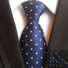 (TPS019) Silk Blue Polka Dot Men Necktie With Matching Pocket Square Men Tie Set