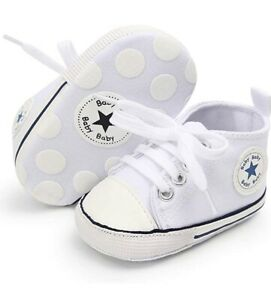 Baby Shoes Converse Style Canvas Newborn Pram Shoes Trainers White 0-6 Months