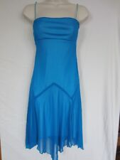 Azure Blue Spaghetti strap Prom dress with unique shape skirt. Lined. S-Small