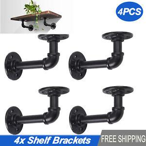 4PCS Industrial Iron Pipe Shelf Display Wall Bookshelf Tube Rack Brackets Holder