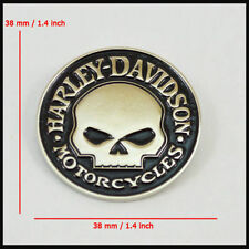 Metal Emblem / Medallion For Harley Davidson Tank / Fender Skull Silver Chrome