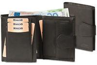 Rinaldo® Leder Geldbörse in Schwarz mit Außenriegel im Hochformat
