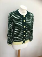 Green pale yellow lemon hand knitted vintage cardigan size M retro 40s 50s 90s