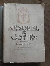 Humbert RICOLFI. MEMORIAL DE CONTES. NICE. Imprimerie de l'eclaireur.1942.illust