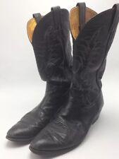 Nocona Vtg Mens 11 B Western Cowboy Boots Black Leather Embroidered ReSoled Worn