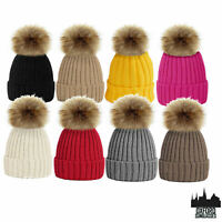 LADIES WOMENS WINTER KNITTED BEANIE SKI HAT THERMAL FUR BOBBLE POM POM