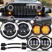 """For Jeep Wrangler JK 07-18 7""""inch LED Headlight + Fog Light+Turn Signal Lamp Set"""