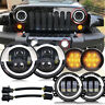 "For Jeep Wrangler JK 07-18 7""inch LED Headlight + Fog Light+Turn Signal Lamp Set"