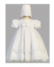 Blanco Vestido De Bautizo Con Detalle De Flor de Bonnet-Hermoso Talla 6 - 9 meses