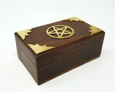 Brass Pentagram Pentacle Wooden Box Altar Stash Jewelry Wicca Pagan Metaphysical