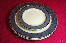 "Woods Ivory Ware (Cobalt & Gold) (3) 10"" DINNER & (3) 6 3/4"" BREAD PLATES EUC"