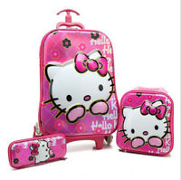 Kids 6D 3 Piece Hand Luggage Trolley Set Cabin Travel Holiday Suitcase Bag Case