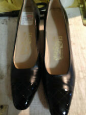 ferragamo lady7 1/2 aaaa black pump patent toe classic