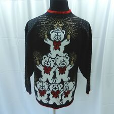 Womens Christmas Holiday Sweater Large Black Teddy Bears Candles Gold Thread