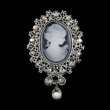 Retro Cameo Victorain Style Crystal Wedding Party Women Pendant Brooch Pin Gifts