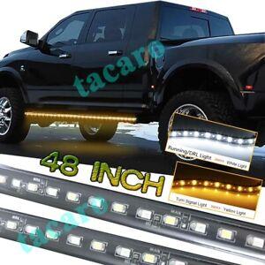 "2x 48"" Running Board Step LED Light Strips Turning Signal Courtesy Truck Pickup"