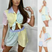 Ladies Pin Striped 2 Piece Co Ord Womens Shorts Shirt Tracksuit Lounge Wear Top