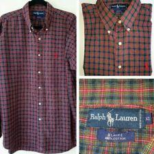 RALPH LAUREN Mens Blaire 100% Cotton Dark Blue + Red Check Mens XL Shirt