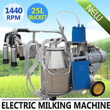 Professional Electric Milking Machine Vacuum Piston Pump Milker Farm Cow SS 25L