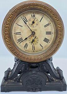 "Antique Working SETH THOMAS ""Long Alarm"" Victorian Cast Iron alarm Mantel Clock"