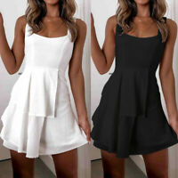 Women's Sexy Sleeveless Lace up Back Mini Dress Casual Summer Swing Sundress