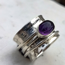 Amethyst Ring Solid 925 Sterling Silver Handmade Ring Statement Jewelry Size-9
