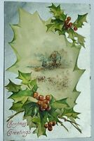 Antique 1907 Christmas Greetings Postcard Holly Snow Cabin Winter Peterson Mo