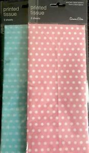 Tissue Paper - 3 Sheets Polka Dot - Baby Pink Or Baby Blue - 75cm X 50cm