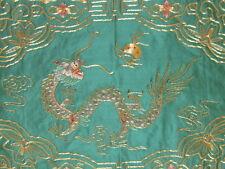 VINTAGE CHINESE SILK GOLD METALLIC EMBROIDERED DRAGON RUNNER