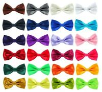 Mens Boys Pre Tied Wedding Party Fancy Plain Satin Necktie Bow tie bowtie uk