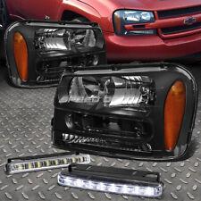 Black Housing Headlight+Amber Corner Lamps+Led Fog Light For 02-09 Trail Blazer