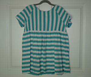Girl's Hanna Andersson Play Away Popover Top Blue White Mixed Stripes 150/12