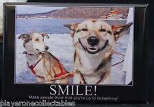 """Smile!"" Happy Sled Dogs! 2"" X 3"" Fridge Magnet. Motivation. Canine K9 Gift"