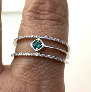 Ema Emerald & Natural Diamond Dainty Ring in 10K Solid White Gold Sz 10