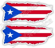 (2) Flag of Puerto Rico Hard Hat Decals | Flags Motorcycle Helmet Stickers Label