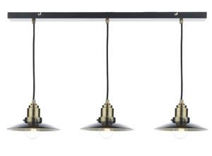 Dar Lighting Hannover 3 Light Pendant Bar Finished in Black and Antique Brass